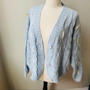 Vintage hand knitted light blue chunky sweater
